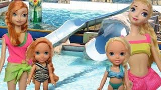 anna and elsa water park   underwater play swimming pool giant waterslides swim splash dive toddlers