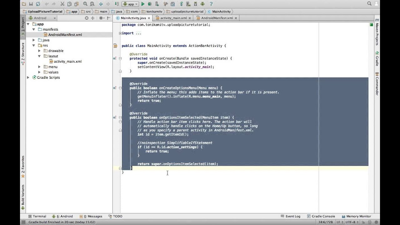 Android Studio Tutorial - Upload Picture Part 1 - User Interface