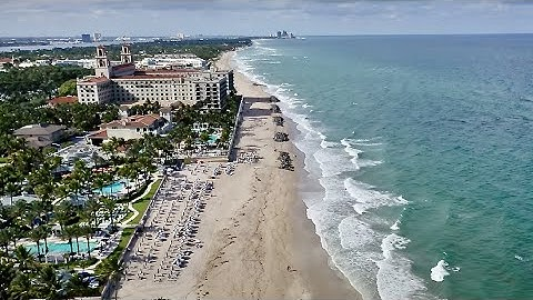 Palm Beach filmed by the drone and the camera. (4K)