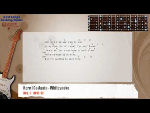Here I Go Again - Whitesnake Guitar Backing Track with chords and lyrics