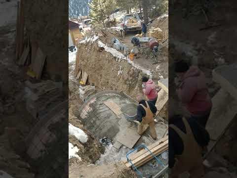 Casting concrete for mine portal  January in Colorado