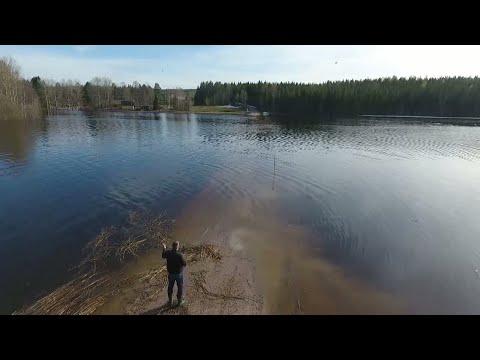 Här är byns enda väg dränkt - extrema vattennivåer i Njurunda - Nyheterna (TV4)