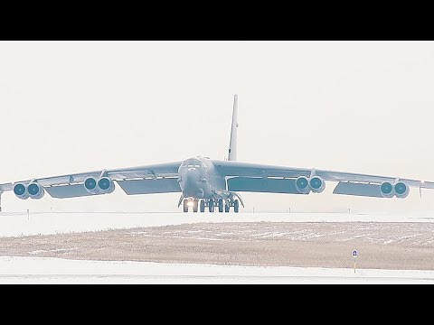 B-52 Bomber Takes Off During Wintry Condition At Minot Air Force Base