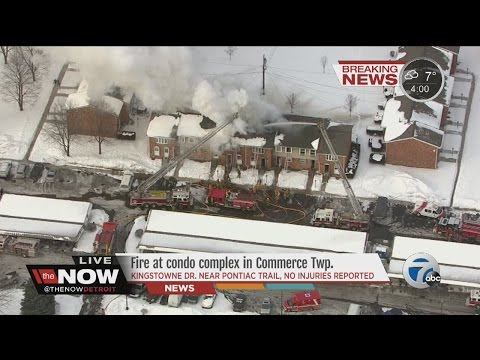 Fire at condo complex in Commerce Township