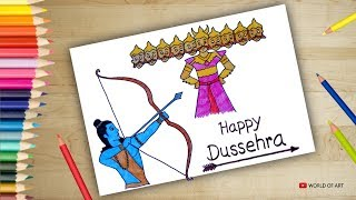 How to draw Dussehra Scenery - Step by step