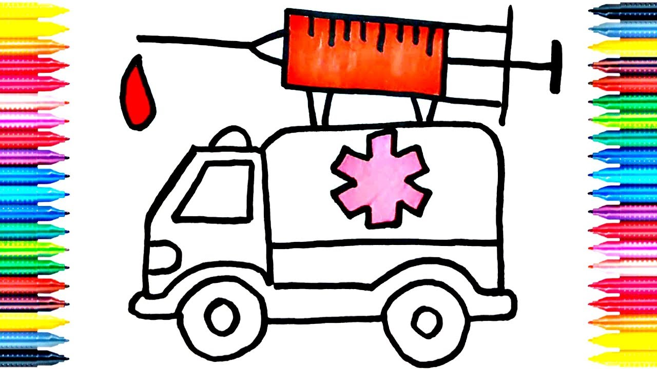 drawing car learn how to draw ambulance colors picture coloring
