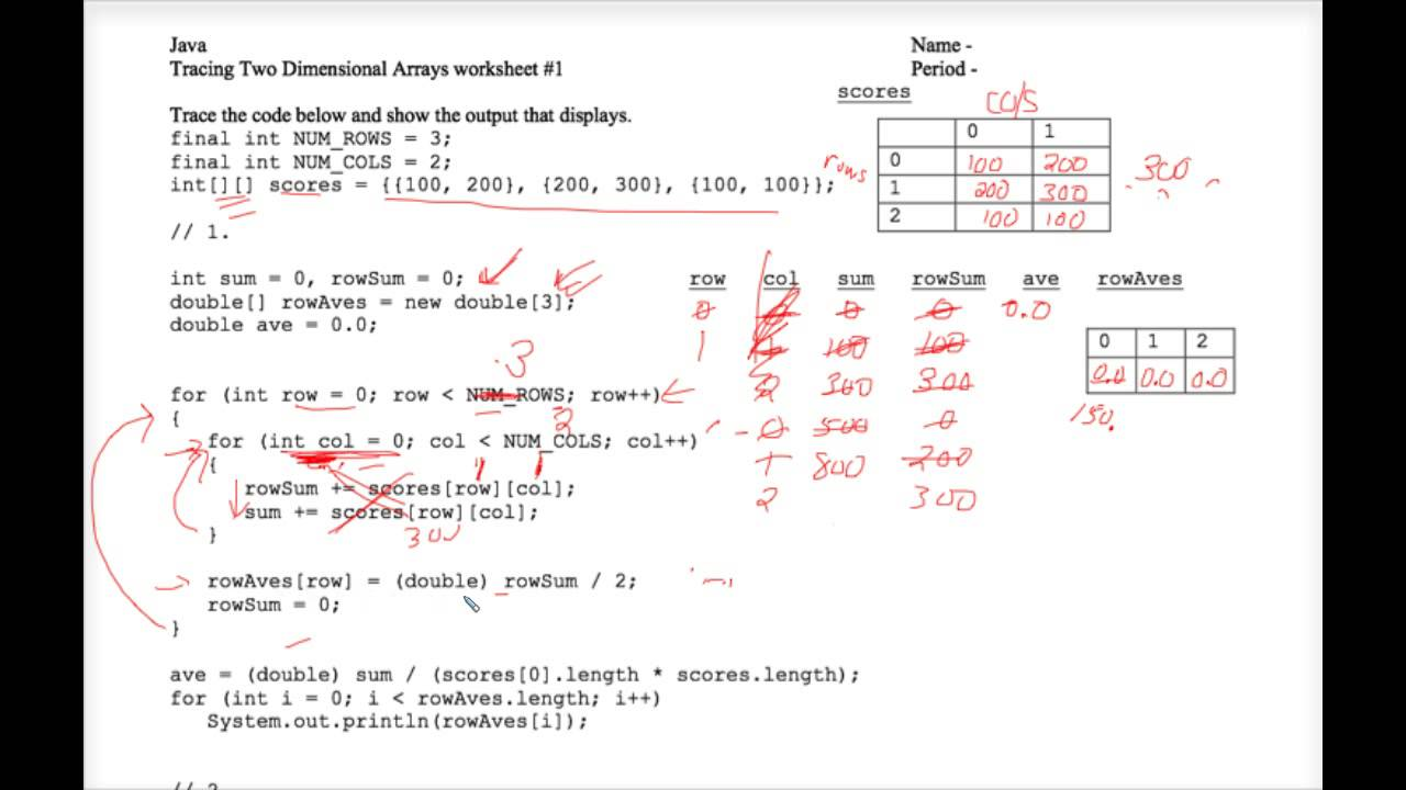 Java Tracing Two Dimensional Arrays Worksheet 1 YouTube – Arrays Worksheet