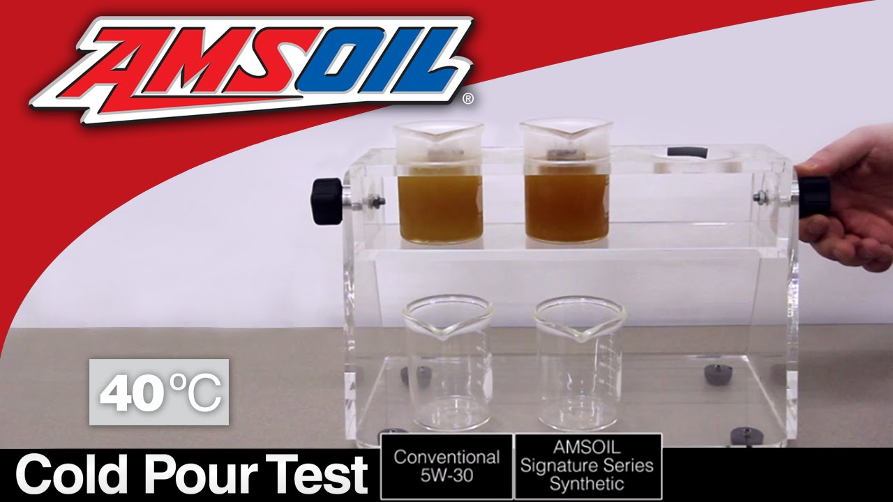 Synthetic Oil Vs Regular Oil >> Cold Pour Test Amsoil Synthetic Oil Versus Conventional Oil