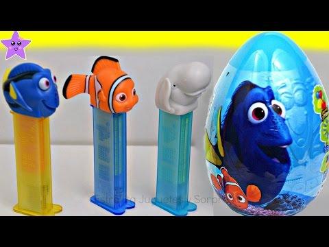 BUSCANDO A DORY Huevo Gigante Sorpresa y Pez dispensador de dulces con Dory, Nemo y Bailey.