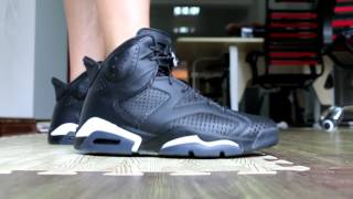 3eee75ebb789 Air Jordan 6 Black Cat on feet HD Review From Trade666a.cn