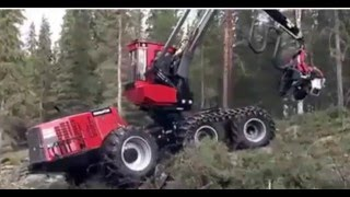 a robort of digital technology cutting down trees