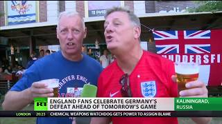 England fans celebrate Germany's defeat ahead of tonight's match thumbnail