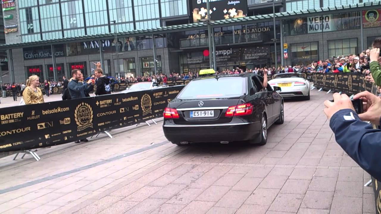 Gumball 3000 Geoff Searle arriving Helsinki by taxi - YouTube