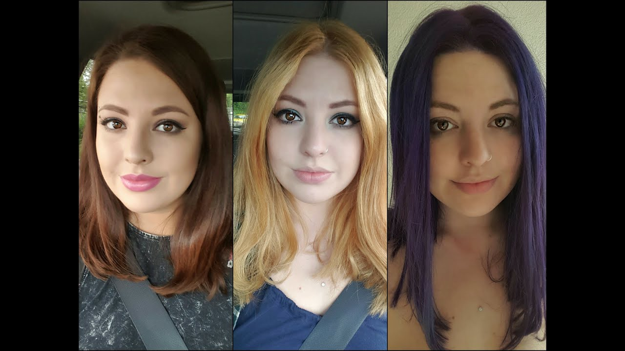 haare f rben von braun zu blond zu lila i candyland make up youtube. Black Bedroom Furniture Sets. Home Design Ideas