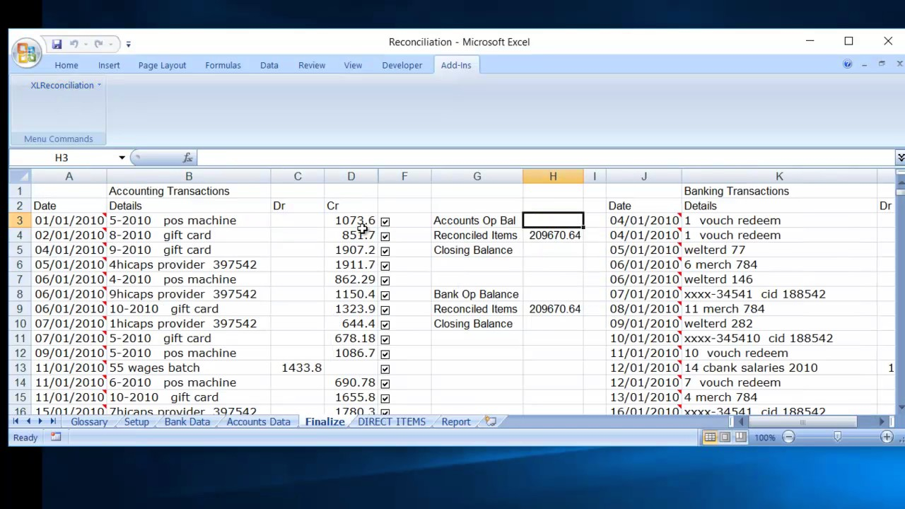 Excel Reconciliation Process Data Reconciliation Using A