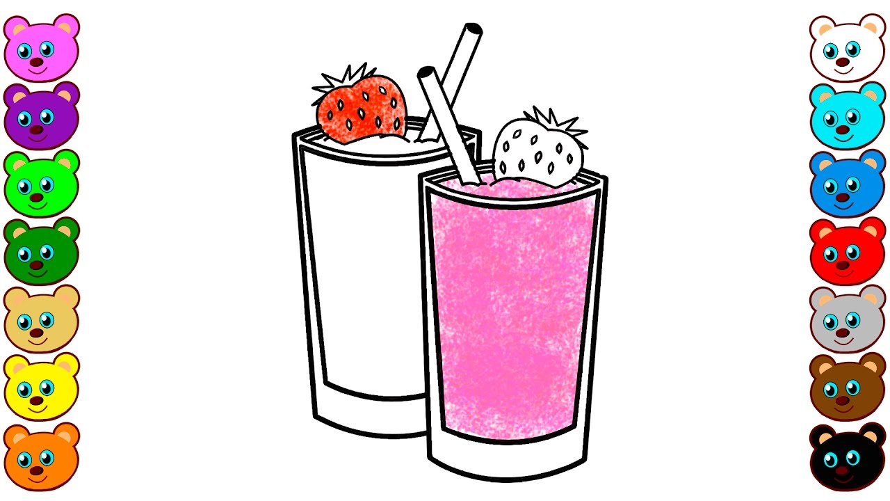 yogurt cocktail and strawberry  coloring page for