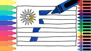 How to Draw Uruguay Flag - Drawing the Uruguayan Flag - Coloring Pages for kids | Tanimated Toys