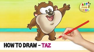 How to draw Baby Taz | Baby Looney Tunes | Cartoon Network | Art Club for Kids
