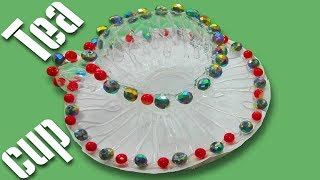 How to make cup and saucer with waste plastic bottle /DIY Waste plastic bottle reuse idea