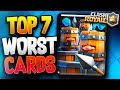 TOP 7 WORST CARDS in CLASH ROYALE - THEY NEED A BUFF / REWORK!