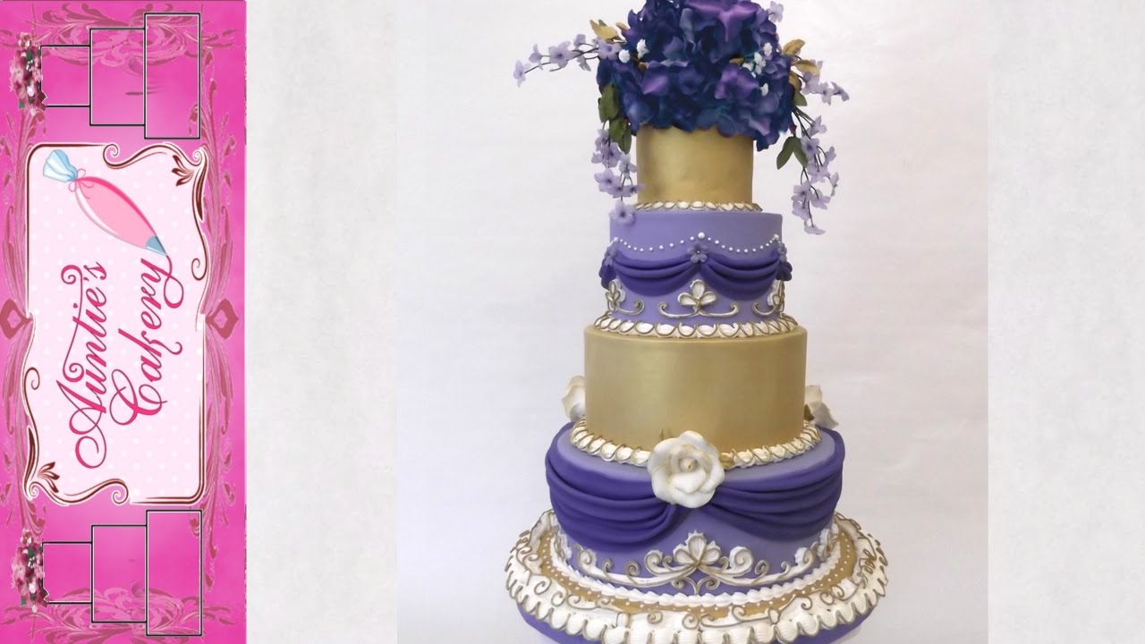 Gold and Violet Wedding Cake-Full Video - YouTube