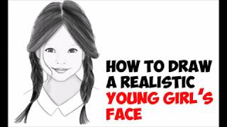 How to Draw a Girl's Face with Long Hair Braids Cute Realistic Easy Step by Step Drawing