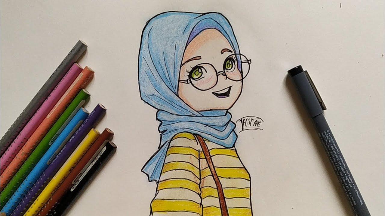 كيفية رسم بنت محجبة للمبتدئين خطوة بخطوة How To Draw Muslim