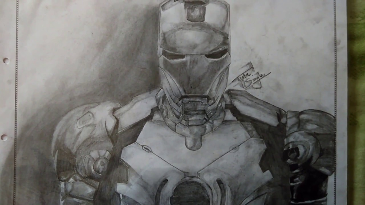 How to Draw 3d Iron Man with one pencil ? - YouTube