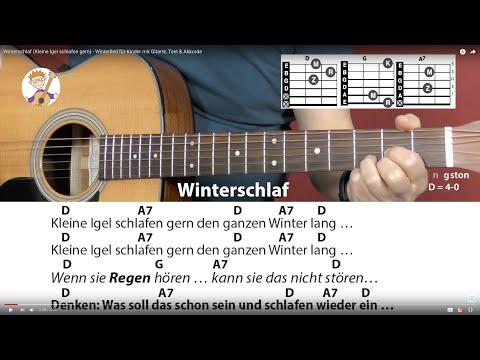 Winterschlaf (Kleine Igel schlafen gern) - Winterlied für Kinder mit Gitarre, Text & Akkorde