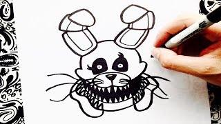 como dibujar a twisted bonnie | how to draw twisted bonnie | como desenhar twisted bonnie