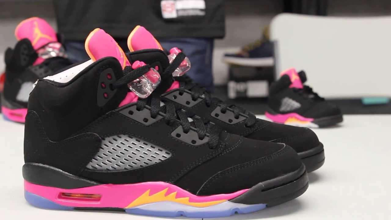 air jordan 5 gs black pink