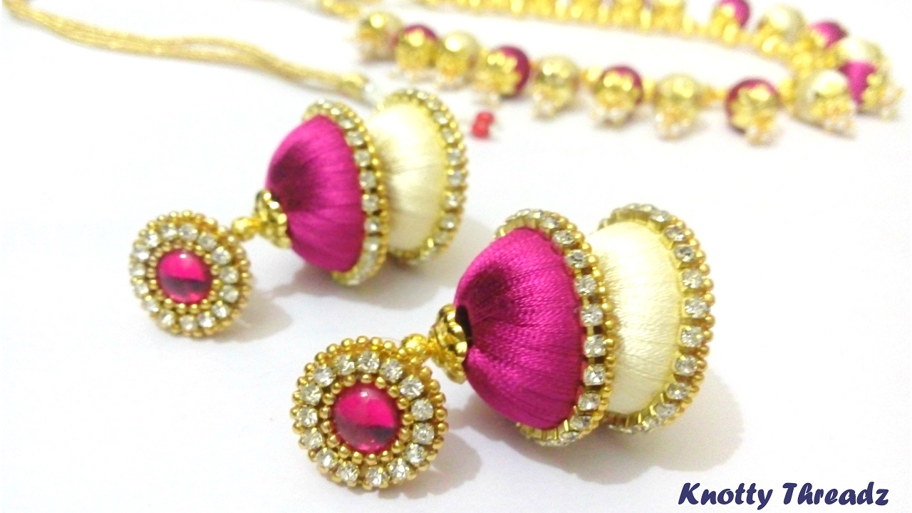 How To Make Dual Colored Silk Thread Jhumkas At Home
