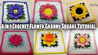 Crochet Flower Granny Square | Crochet Granny Square Tutorial | Bag O Day Crochet