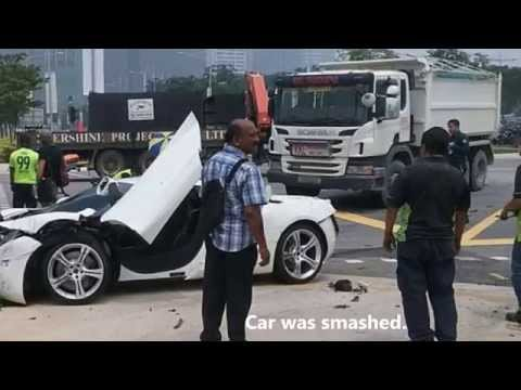 McLaren MP4-12C and Motorcycle Smashed by Van at Marina Boulevard Accident Singapore