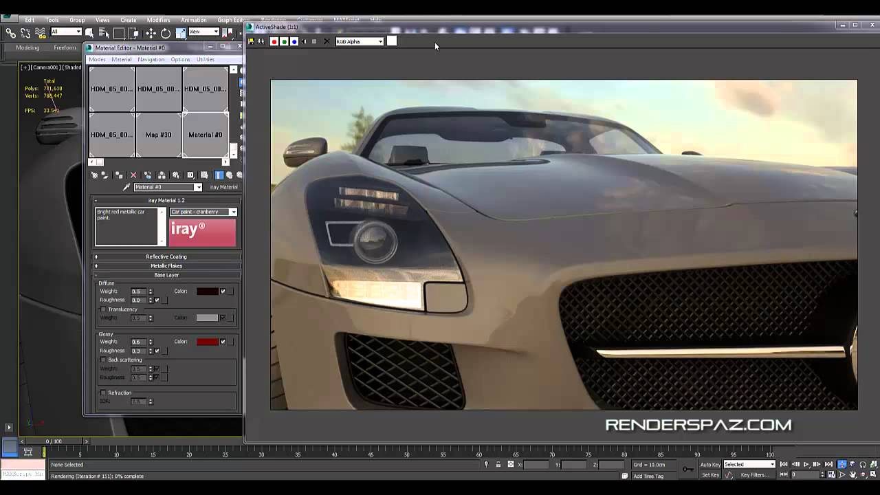 Iray 3d studio max 2014 car rendering real time youtube for Studio max 3d