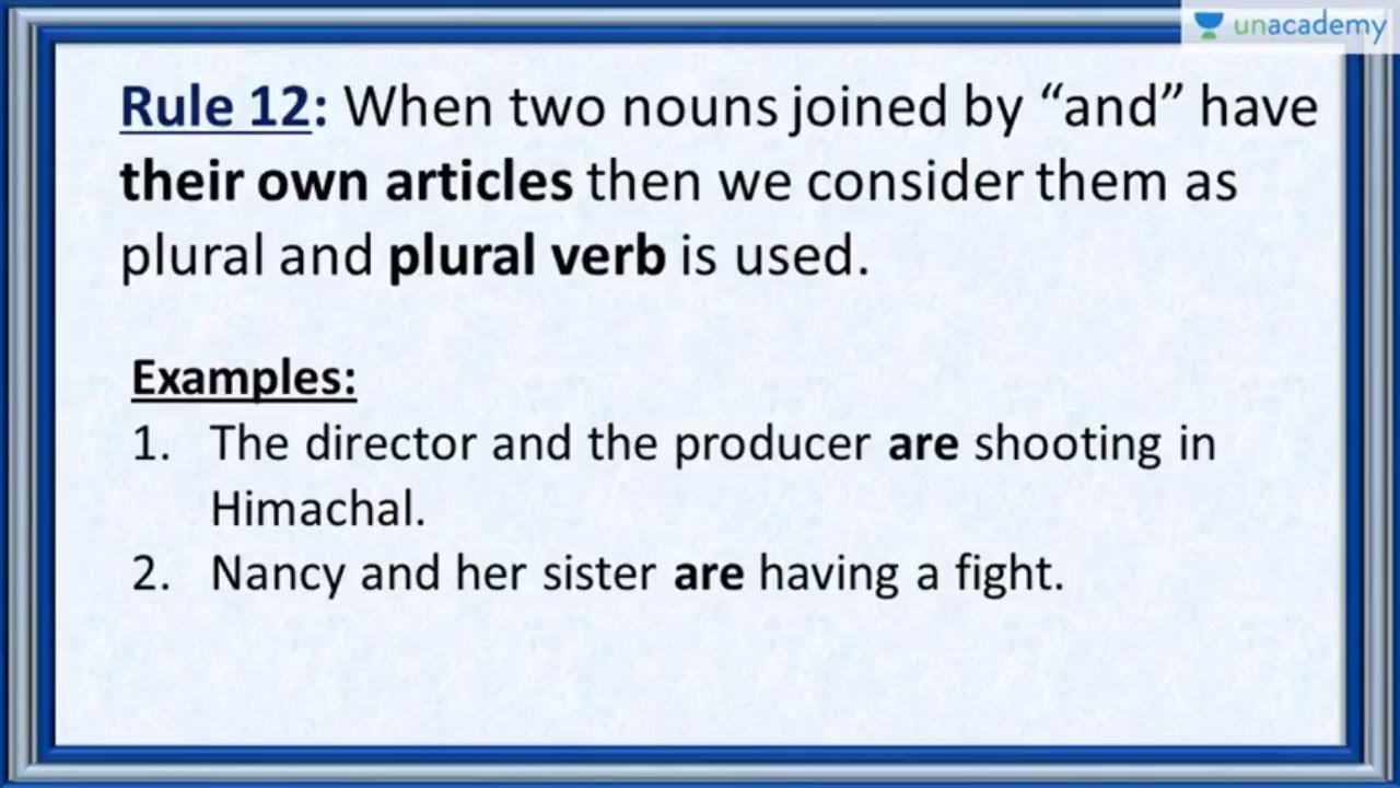 Subject Verb Agreement Rule 12 When The Nouns Joined By And Have