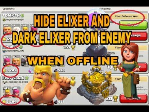 HIDE ELIXER AND DARK ELIXER FROM ENEMY ATTACK