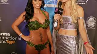 Caitlin Oconner interviewing Melissa Riso at Maxim Halloween Party