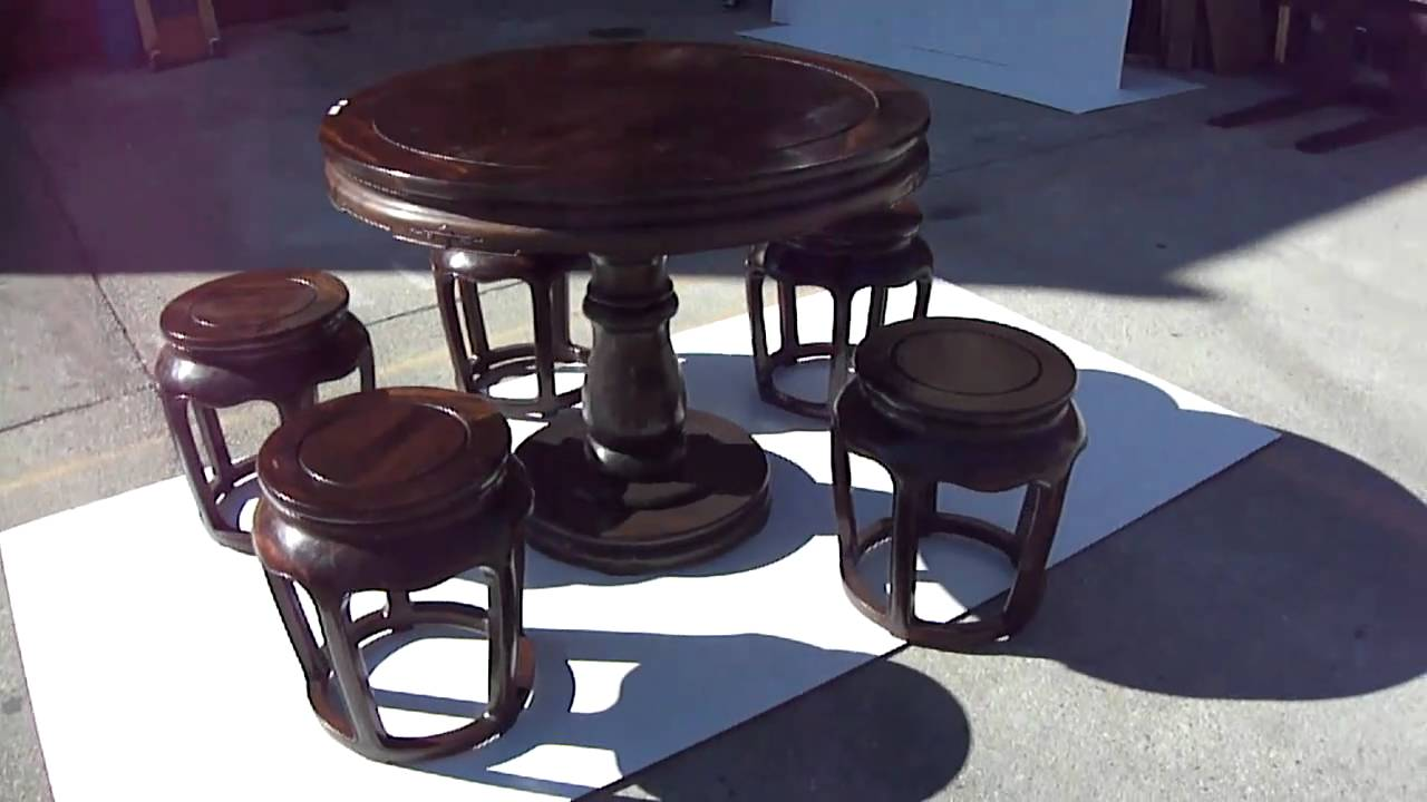 Vintage Chinese Africa Zitan Round Table 5 Chairs Set S2836m Youtube