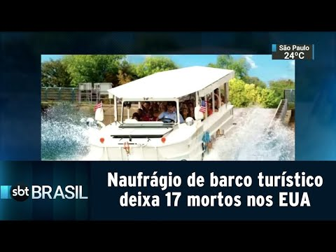 Naufrágio de barco turístico deixa 17 mortos nos Estados Unidos   SBT Brasil (20/07/18)