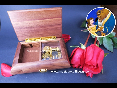 Wooden Jewelry Music Box Sankyo 18 Note Beauty and the Beast
