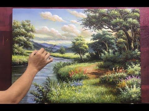 kỹ thuật vẽ tranh phong cảnh rừng sâu acrycic, sơn dầu