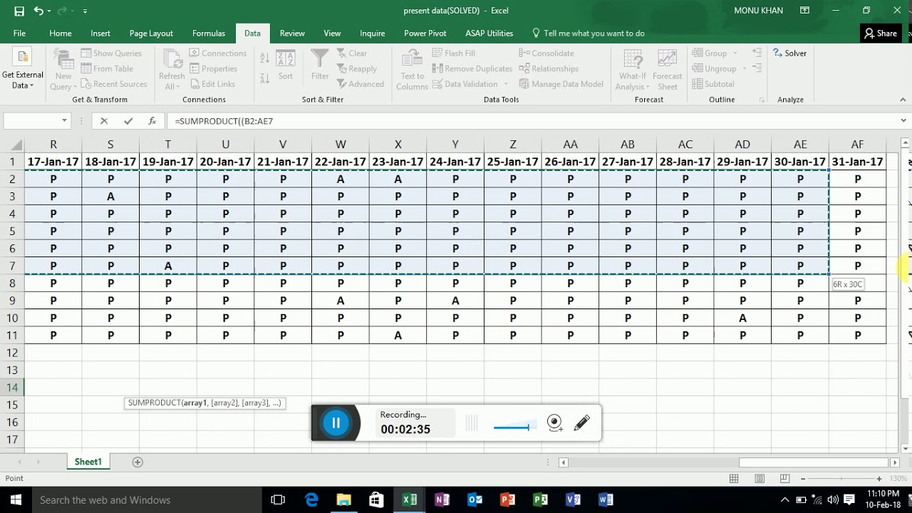 present and absent attendance sheet in excel  hindi