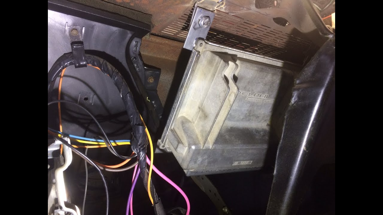 LS swap - PCM mounting under dash 71 Nova - YouTube