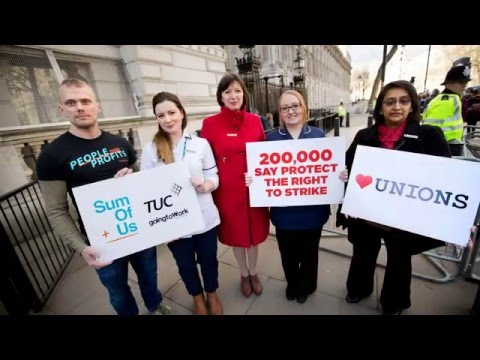Download 200,000 against the Trade Union Bill. TUC and SumOfUs deliver petition to Downing Street