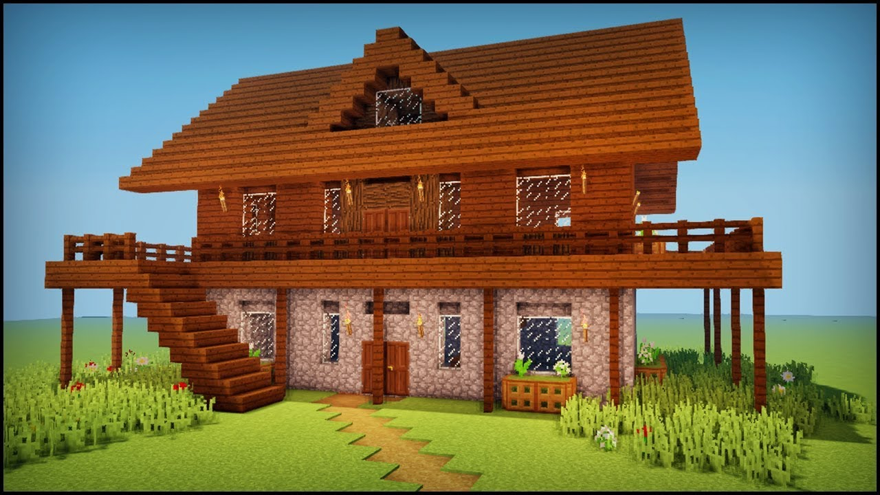 Minecraft how to build a dark oak wooden house youtube