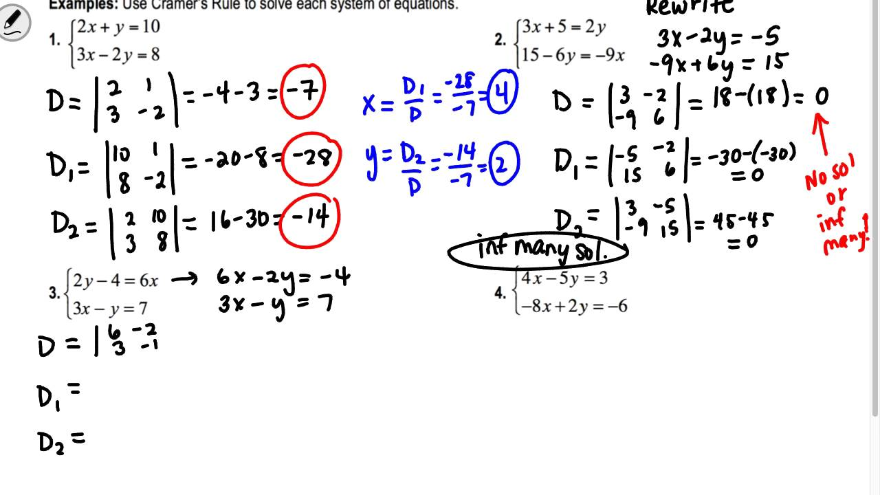 section 4 3 algebra 2 determinants and cramer 39 s rule youtube. Black Bedroom Furniture Sets. Home Design Ideas