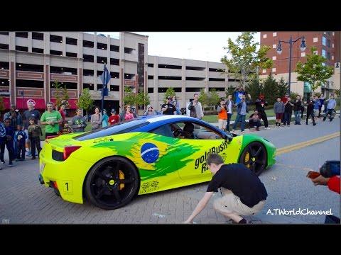 Ferrari 458 Italia BURNOUT! Kids Pick Up FAKE MONEY