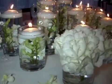 Floating Candle Centerpieces With White Orchids By Sweet