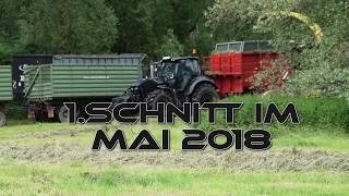 Gras häckseln / silieren 1. Schnitt 2018 - Großeinsatz John Deere 7380 ProDrive - Deutz Warrior